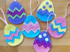 Húsvéti filc dekoráció, 6 db színes tojás, Dekoráció, Húsvéti apróságok, Otthon, lakberendezés, Ünnepi dekoráció, Varrás, Meska