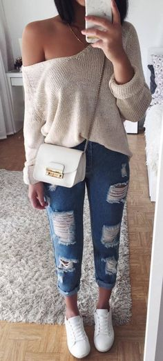 Casual Style Addiction One Shoulder Sweater Plus Bag Plus Ripped Jeans Plus Sneakers