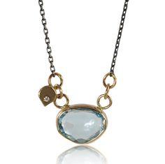 Urban Zen Blue Topaz Necklace with Diamond by ChristineMighion