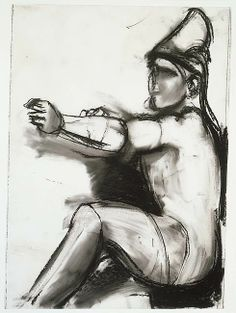 Charcoal and pastel on plastic sheet 17 1/2 x 12 1/2 inches   In choosing his sculptural sources, Dine was drawn to single-figure compositions and rarely chose multi-figure groups. He extracted the subject of this drawing, an archer sometimes identified as Paris, Prince of Troy, from the west pediment of the Temple of Aphaia in Aegina (ca. 485–480 BC). Reconstructed at the Glyptothek, Munich.