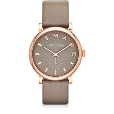 Marc by Marc Jacobs Designer Women's Watches Baker 36 MM Gray Leather... (€170) ❤ liked on Polyvore featuring jewelry, watches, accessories, bracelets, grey, women's watches, rose jewellery, water resistant watches, gold stainless steel jewelry and rose gold stainless steel jewelry