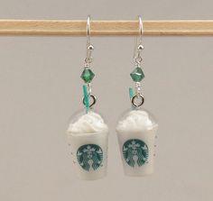 Pendientes de Starbucks Frappuccino comida por miniholiday en Etsy
