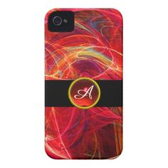 CRAZY PHOTON RED RUBY GEM STONE MONOGRAM iPhone 4 Case-Mate CASE