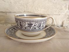 Wedgewood Florentine Cup And Saucer, Lovely design. Made in England. by MerryLegsandTiptoes on Etsy