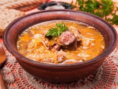 Gombaleves - Chrismtas hungarian soup with sauerkraut, sausages, mushrooms and barley Stock Photo - 49512859 Sauerkraut, Canning Recipes, Soup Recipes, Vitamix Recipes, Stuffed Pepper Soup, Stuffed Peppers, Dairy Free Soup, Jelly Recipes, Vegetarian Soup