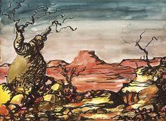 Landscape with Boab - RUSSELL DRYSDALE Current Catalog, Visual Diary, Australian Artists, Art Auction, Van Gogh, Watercolor, Landscape, Painters, Composition