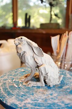 hare in wet clay just sculpted by Joe lawrence art work, via Flickr