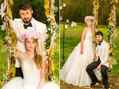 Bride and groom on decorated swing during Nashville wedding style shoot at Spring Haven Mansion, photographed by High Gravity | The Pink Bride www.thepinkbride.com