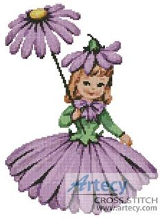 Flower Girl 2 Counted Cross Stitch Pattern  http://www.artecyshop.com/index.php?main_page=product_info&cPath=31_34&products_id=1157
