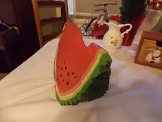 Wood Fourth of July Watermelon-painted piece of cut log