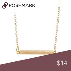 Gold plated bar necklace Gold plated // bar necklace // length -- 16 inches with a 2 inch extender chain / bar size -- 1 inch by 1/8 inch //. ***RETAIL price are FIRM unless bundled **** Jewelry Necklaces