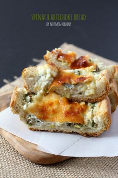 Spinach Artichoke Bread- sub the cheeses for vegan versions. Adding spinach to picky eater's diet.