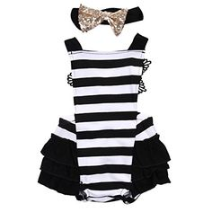 Newborn Kids Baby Girls Clothes Lace Jumpsuit Romper Playsuit + Headband Outfits (0-6 Months, Striped). For price & product info go to: https://all4babies.co.business/newborn-kids-baby-girls-clothes-lace-jumpsuit-romper-playsuit-headband-outfits-0-6-months-striped/