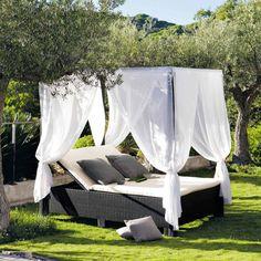 Himmelbett Für Den Garten Aus Kunstharzgeflecht, 150 X 210 Cm, Schwarz  Miami Miami |