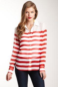 Brett Clean Stripe Silk Blouse