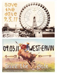 embroidered vintage postcard save the dates #invitation #wedding
