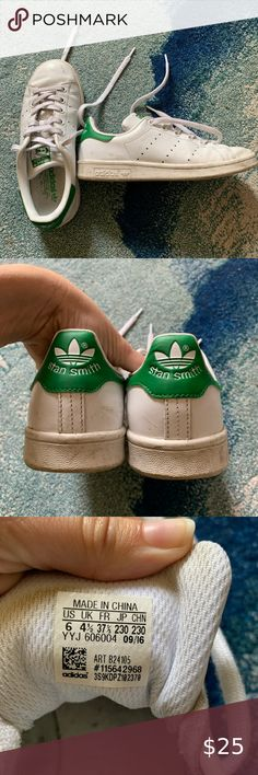 Green Adidas Stan Smith Shoes Gently used tennis shoes. Women's size 6. A quick run through the wash could turn these back to essentially looking brand new. adidas Shoes Athletic Shoes Stan Smith Shoes, Adidas Stan Smith, Shoes Women, Adidas Shoes, Adidas Women, Athletic Shoes, Tennis, Green, Closet