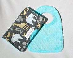 Baby Bib and Burp Cloth Set - Aqua Blue Minky Bib and Burp Cloth in Sea Zoology by Michael Miller for your Baby Boy. $16.00, via Etsy.