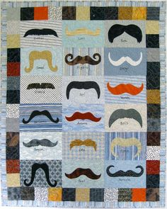 Awesome Mustache Quilt pattern on Craftsy.com @Heather Watkins-Thornton - thought of you :)