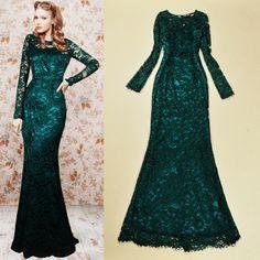 Free shipping wome's brand vintage fashion GREEN lace long-sleeved slim hip slim elegant long/maxi evening/banquet dress US $115.00