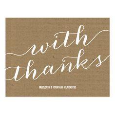 Elengant Wedding Thank You Cards Rustic Kraft Paper Thank You Postcard