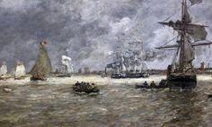 IMG_5423B Eugène Boudin. 1824-1898. Honfleur   Le port d'Anvers. The port of Antwerp. 1876. Grenoble. Musée des Beaux Arts.