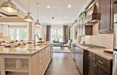 Traditional Kitchen with One-wall, Hardwood floors, Complex granite counters, flush light, Breakfast nook, Flush, Columns