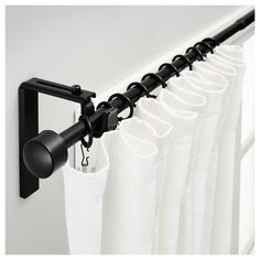 IKEA - RÄCKA Curtain rod combination black When considering to master bedroom decor thoughts, some Ikea Curtains, Ikea Curtain Rods, Ceiling Mount Curtain Rods, Modern Curtain Rods, Long Curtain Rods, Black Curtain Rods, Painted Curtains, Curtain Rod Holders, Ceiling Curtains