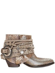 ELENA IACHI - 50MM PYTHON EMBOSSED LEATHER ANKLE BOOTS - LUISAVIAROMA - LUXURY SHOPPING WORLDWIDE SHIPPING - FLORENCE