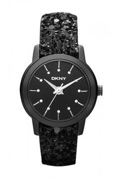 DKNY Black Sparkle Strap Watch