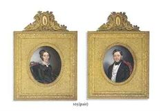 FELIX DELMONT (FRENCH, 1794-1867) A pair of miniatures: a lady in black moire silk dress with gauze fichu and a cameo, seated on a green velvet chair; and a gentleman in black coat, white waistcoat with lilac chequered pattern, white shirt and black cravat signed and dated: F. Delmont. Paris/1845;  both on ivory Christie's Auction