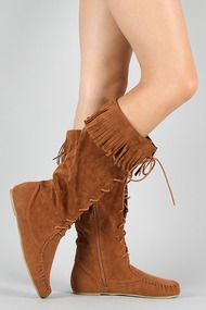 Bamboo Friends-11 Fringe Lace Up Moccasin Knee High Boot