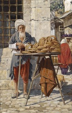 Oriental Street Vendor Metal Print by Daniel Israel Art And Illustration, Empire Ottoman, Middle Eastern Art, Arabian Art, Islamic Paintings, Pics Art, Turkish Art, Great Paintings, Historical Art