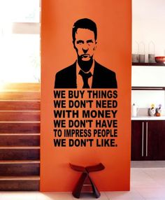 FIGHT CLUB QUOTES VINYL WALL DECALS STICKER MURAL LETTERING MOVIE MONEY TALK