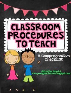 Classroom Procedures to Teach {Back to School Classroom Ma