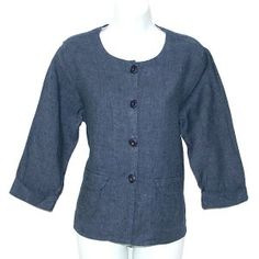 "Flax ""Simple Jacket"" in ""Denim"" (blue) $18"