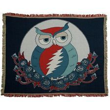 Grateful Dead - Steal Your Face Owl Woven Cotton Black Throw Blanket