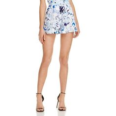 Aqua Watercolor Floral Shorts - 100% Exclusive ($62) ❤ liked on Polyvore featuring shorts, short shorts, floral printed shorts, floral shorts, aqua shorts and floral print shorts