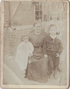 My Gt grandmother Ellen, with my Granddad Bill and his sisters Maggie & Annie. C1905