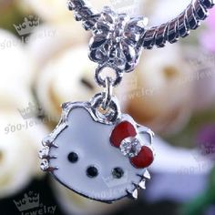 Enamel Hello Kitty Dangle European Beads Fit Charms Holes SEE FOR $85 IN JEWELRY STORES