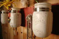Red White and Classy mason jar trio by PineknobsAndCrickets, $45.00
