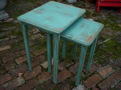 Wood Tables - Shabby Table - Furniture - Cottage Chic, French Country, Set of Two Nesting