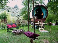 Uhhhh....I NEED a backyard with this little wagon safe haven.  Via: design is mine : isn't it lovely?: INTERIOR EXTERIOR INSPIRATION : OUTDOOR SPACES.