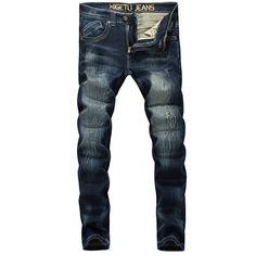>> Click to Buy << High Quality Elastic Pants Fashion Men Jeans Dark Blue Denim Stripe Jeans Men Brand Designer Skinny Jeans Embroidery Pocket #Affiliate