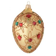 Oval bauble in gold blown glass with stones 130mm | online sales on HOLYART.co.uk