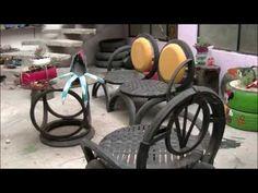 como hacer sillas con llantas recicladas, procedimiento paso a paso - YouTube