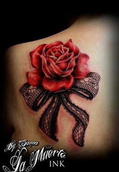Lace and Rose Tattoo - 45+ Lace Tattoos for Women | Art and Design