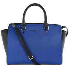 Michael Kors Women's Selma Colour Block Black & Blue Leather Tote Bag found on Polyvore
