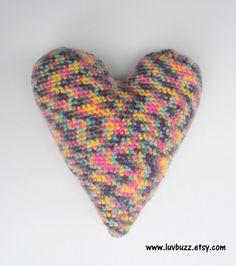 EllesHeart Loves ~ Crochet Hearts #Crochet #Hearts #Crochethearts #Inspiration #Tutorial #Pattern #Vintage #Valentine #Love ~ Large Crochet Heart Accent Pillow Cushion plush heart, ready to ship.
