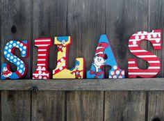 Seuss Cat in the Hat / Custom Nursery Letter to Match Bedding Nursery Twins, Baby Nursery Bedding, Nursery Themes, Nursery Ideas, Abc Birthday Parties, Baby 1st Birthday, Birthday Ideas, Dr Seuss Nursery, Nursery Letters